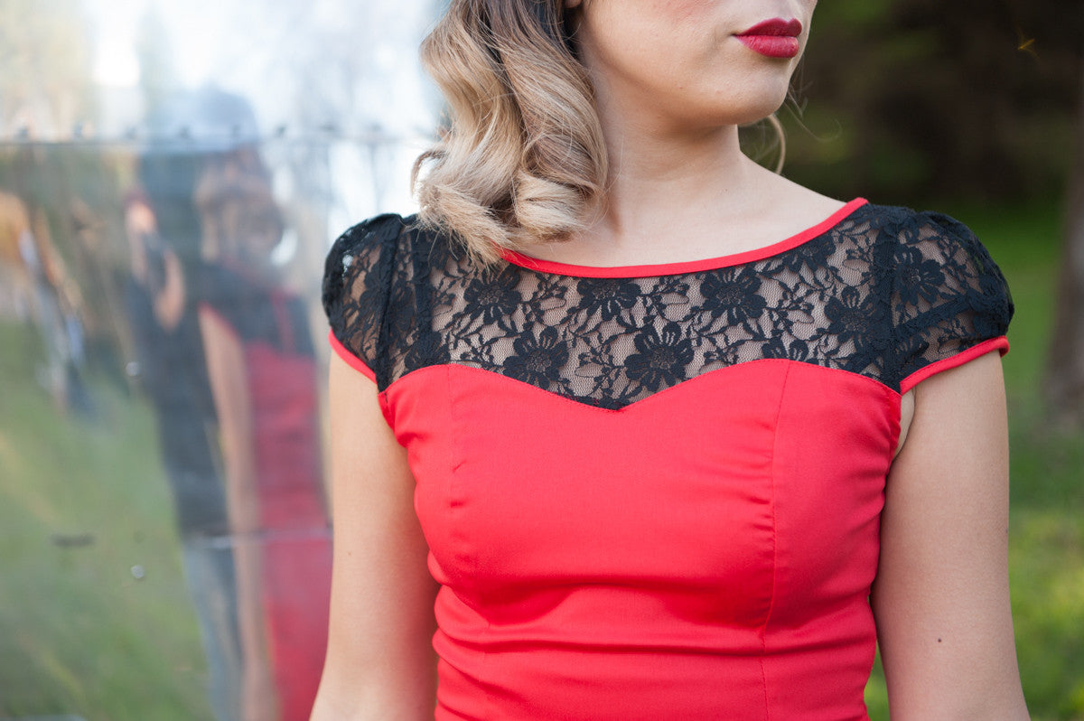 Pencil Dress | Lace | Red | 14