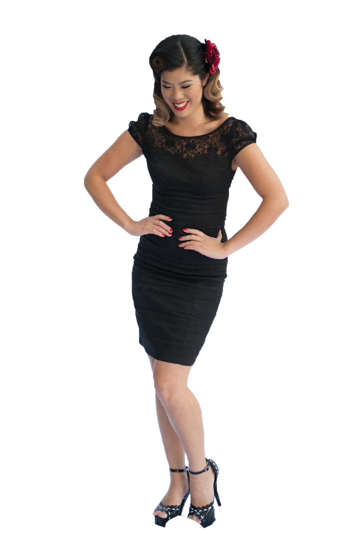 Black Lace Pencil Dress (Size 8 - 18)