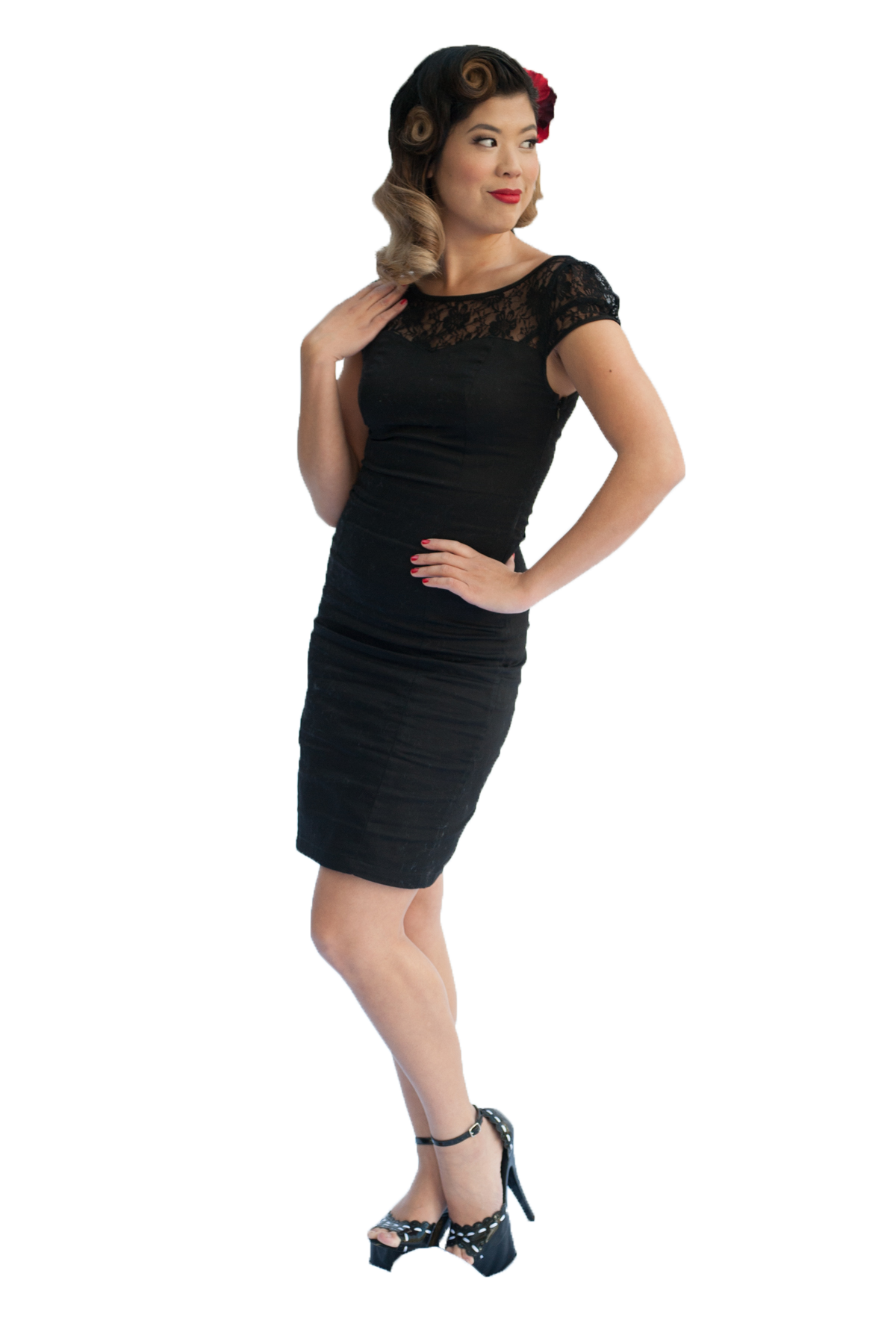 Pencil Dress | Lace | Black | 10