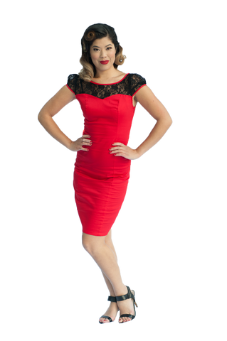 Pencil Dress | Lace | Red | 12