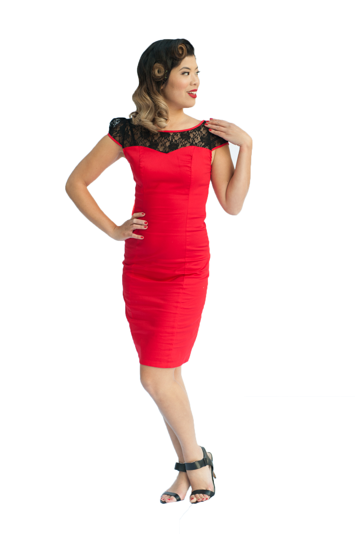 Lace Pinup Pencil Dress | Red
