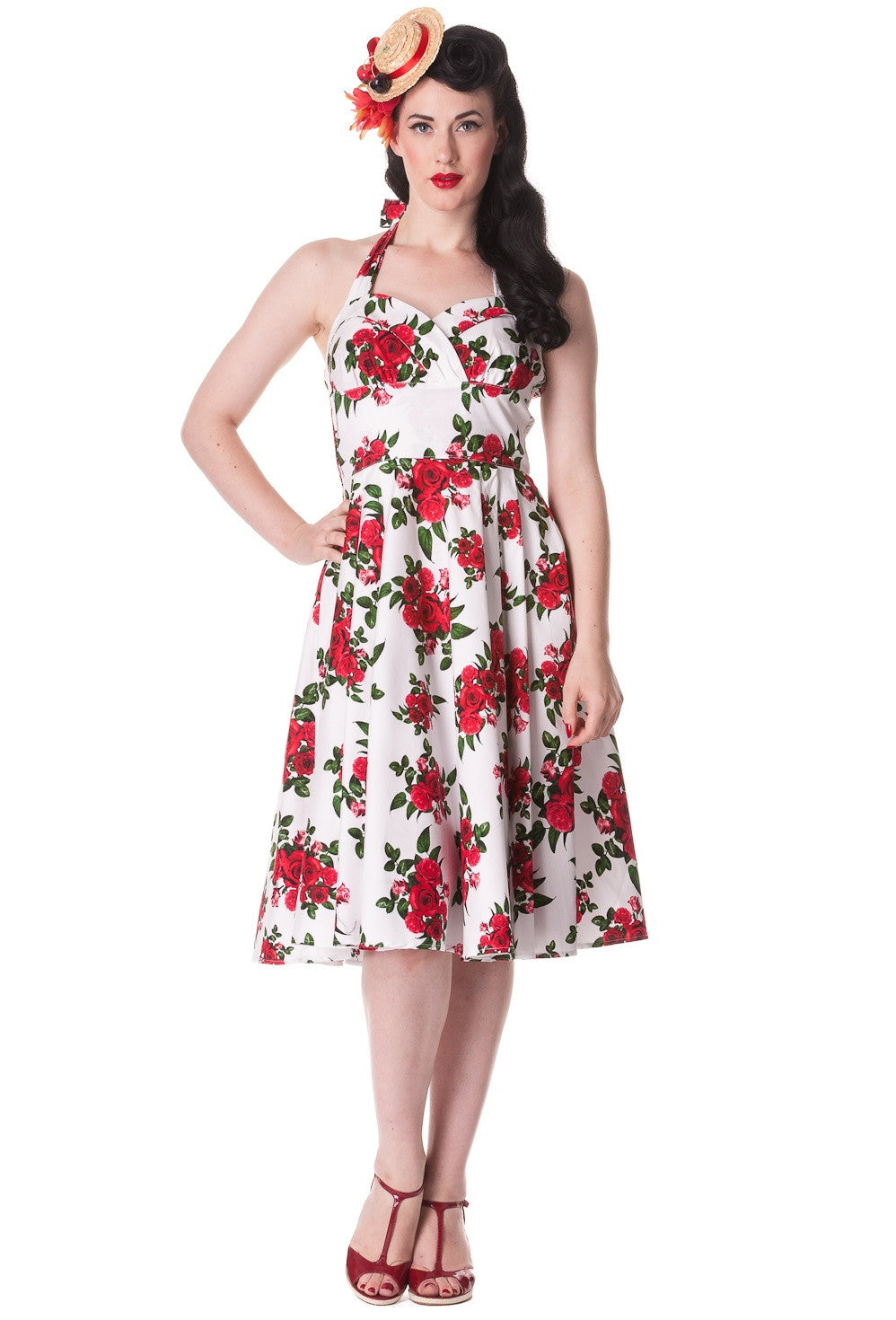 Cannes 50s Dress | Rose | White | XL