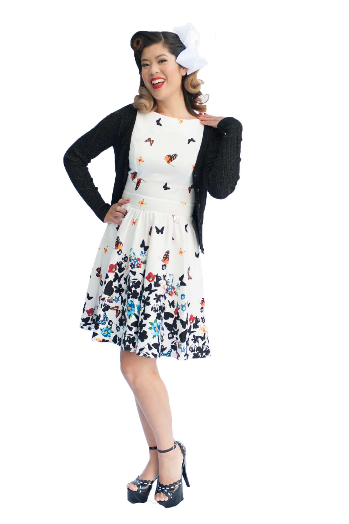Nostalgia Now Lady V London White Butterfly Border Tea Dress