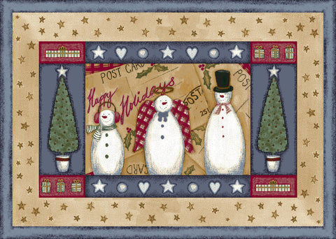 Holiday Frosty & Family Rug