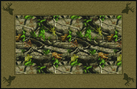 Realtree Hardwoods Green Solid Border Rug