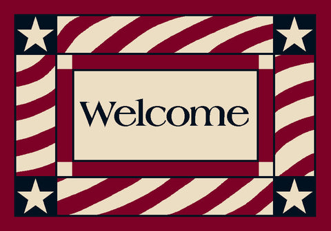 Seasonal Patriotic Welcome Rug