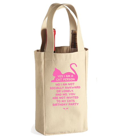 Cat Lady Wine Bag 1 - 2 Bottle