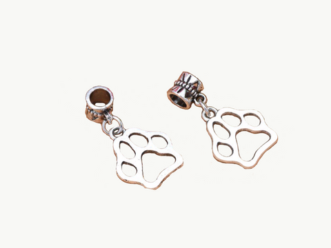 Antique Silver Cat Dog Paw Prints Dangle Charm
