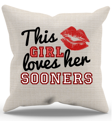 This Girl Loves Her Sooners Pillow Case