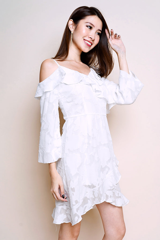 Restock: Jo Ruffles Asymmetrical Dress - White [S/M/L/XL]