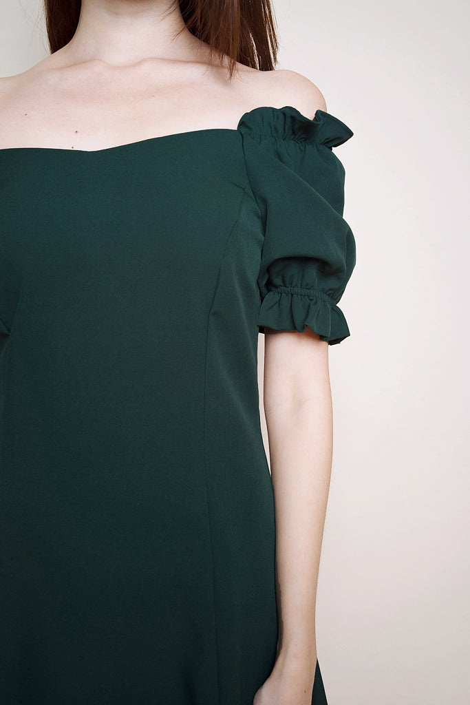 Zoe Ruched Sleeved Dress - Forest [XS/S/M/L]