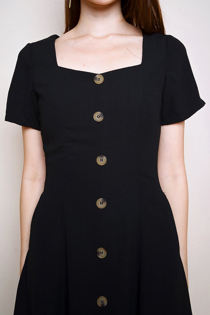 Milano Diamond Neck Buttons Midi - Black [S/M/L/XL]