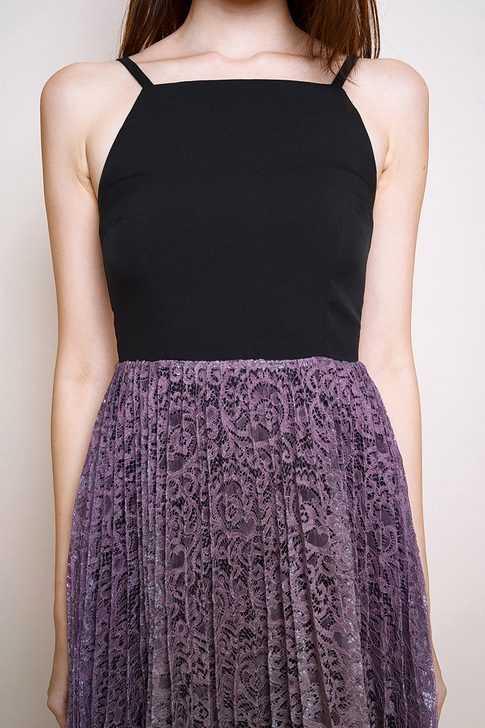 Lotte Lace Ombre Pleated Dress - Black/Lavender Pink [S/M/L/XL]