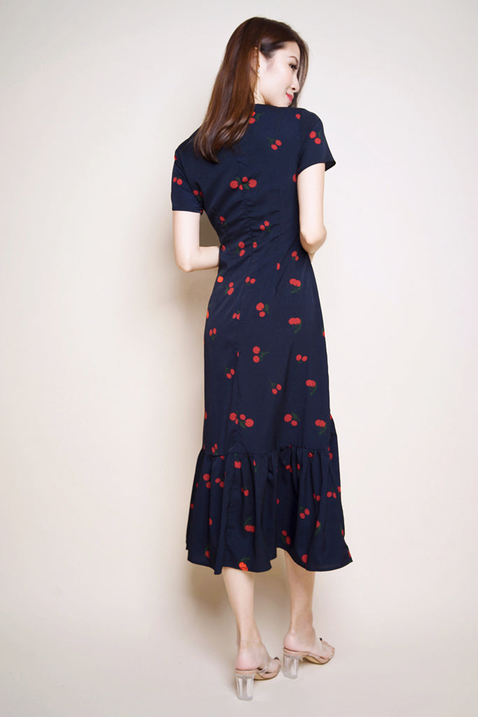 Adalyn Cherry Printed Button Midi - Navy [S/M/L/XL]