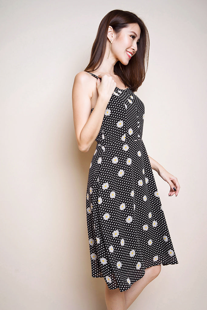 Elise Daisy Button Skater Dress - Black [XS/S/M/L]