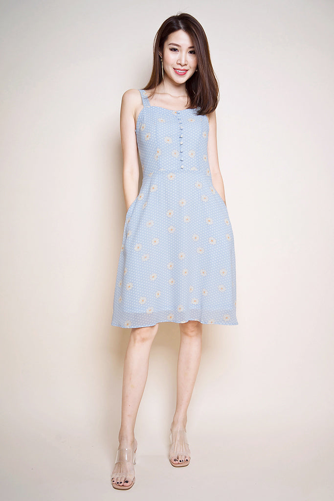 Elise Daisy Button Skater Dress - Blue [XS/S/M/L]