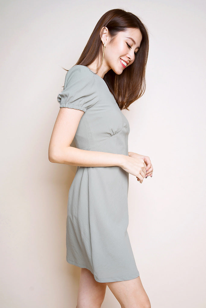 Peggy Puffy Sleeves Dress - Sage Green [S/M/L/XL]
