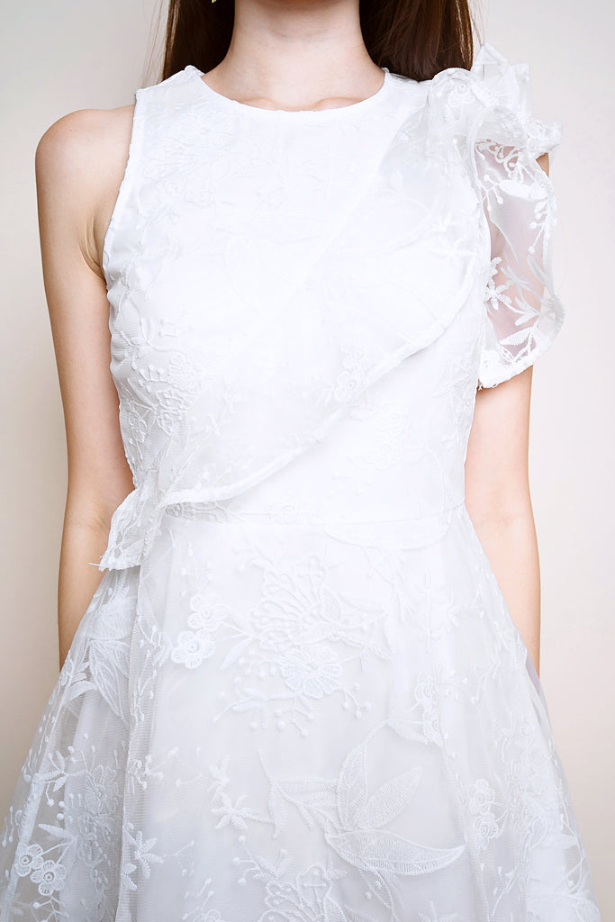 Avery Floral Mesh Ruffle Dress - White [S/M/L/XL]