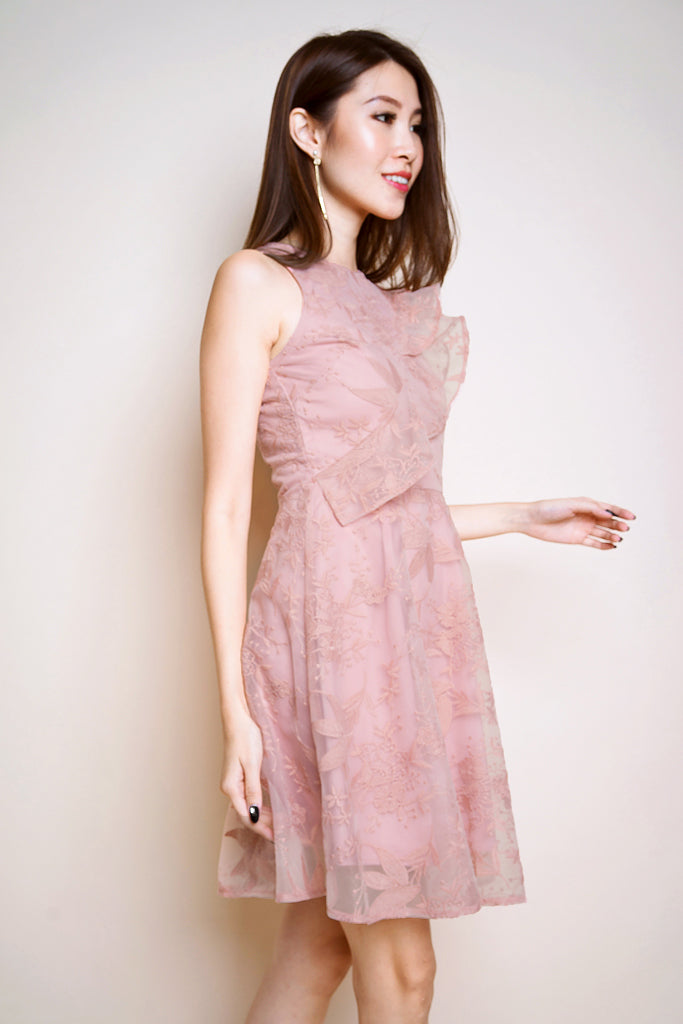 Avery Floral Mesh Ruffle Dress - Pink [S/M/L/XL]