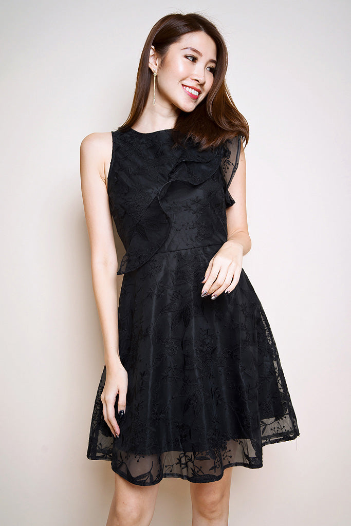 Avery Floral Mesh Ruffle Dress - Black [S/M/L/XL]