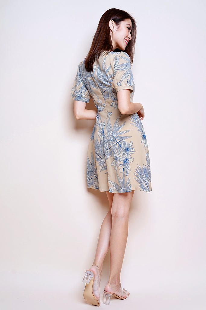 Carol Outline Floral Puffy Sleeved Dress - Nude [XS/S/M/L/XL]