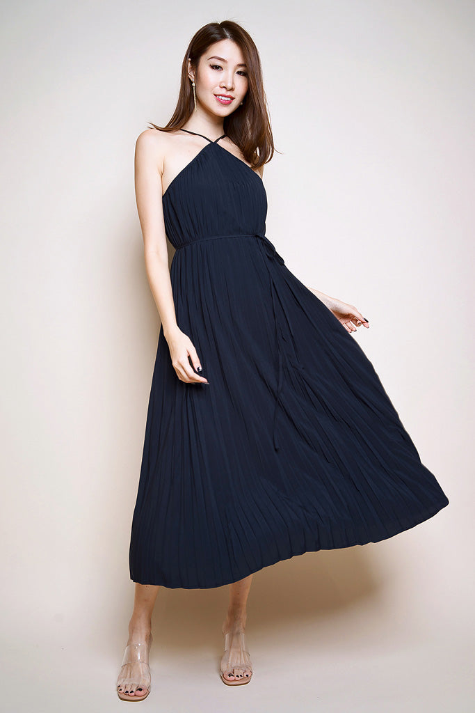 Vivian Pleated Two-Way Maxi Dress - Navy [S/M/L]