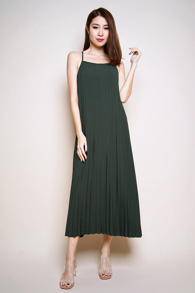Vivian Pleated Two-Way Maxi Dress - Forest [S/M/L]