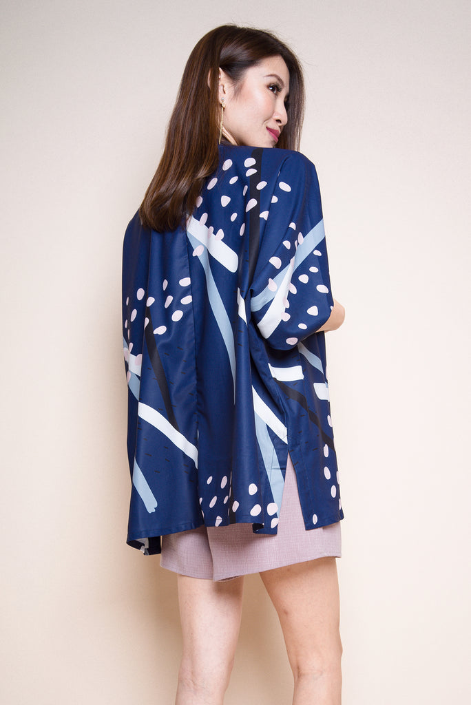 Monique Abstract Kimono Outerwear - Navy [S/M]