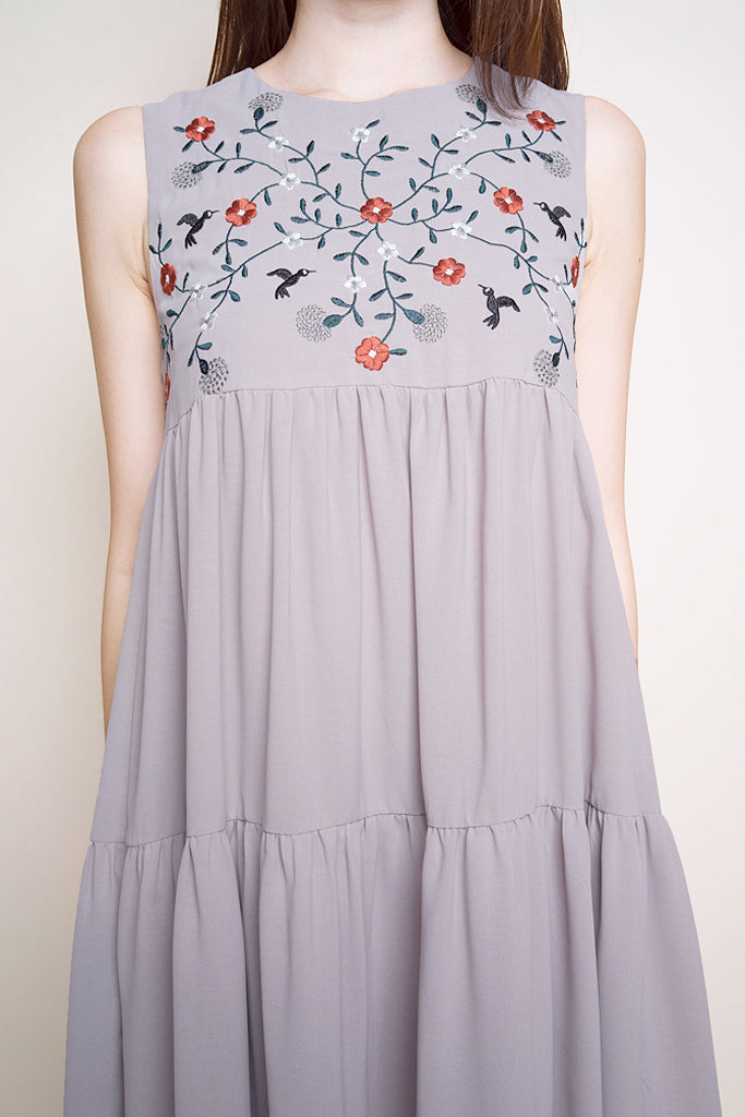 Gemma Floral Embroidery Dress - Taupe [S/M/L/XL]