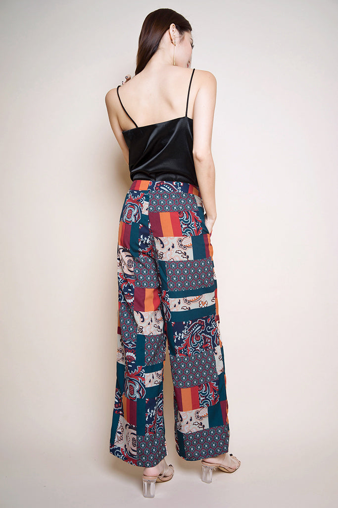 Deliah Patchwork Wide Leg Pants - Forest/Rust [XS/S/M/L/XL]