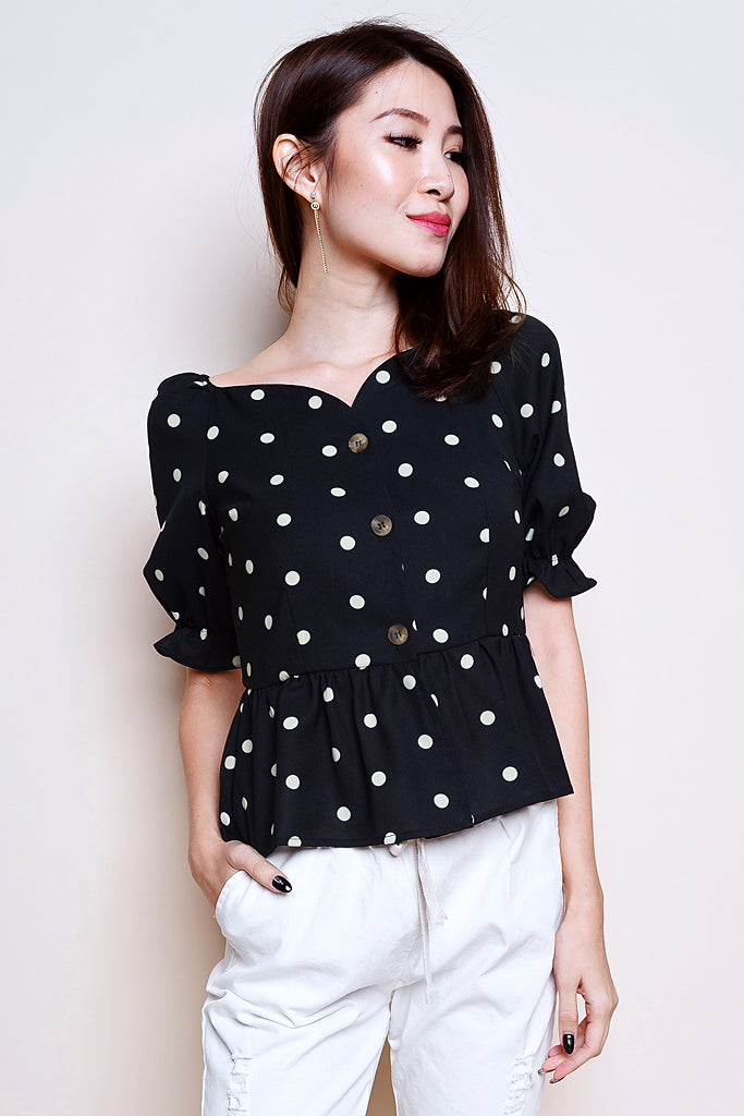 Mich Polka Dot Puffy Sleeved Top - Black [S/M/L]
