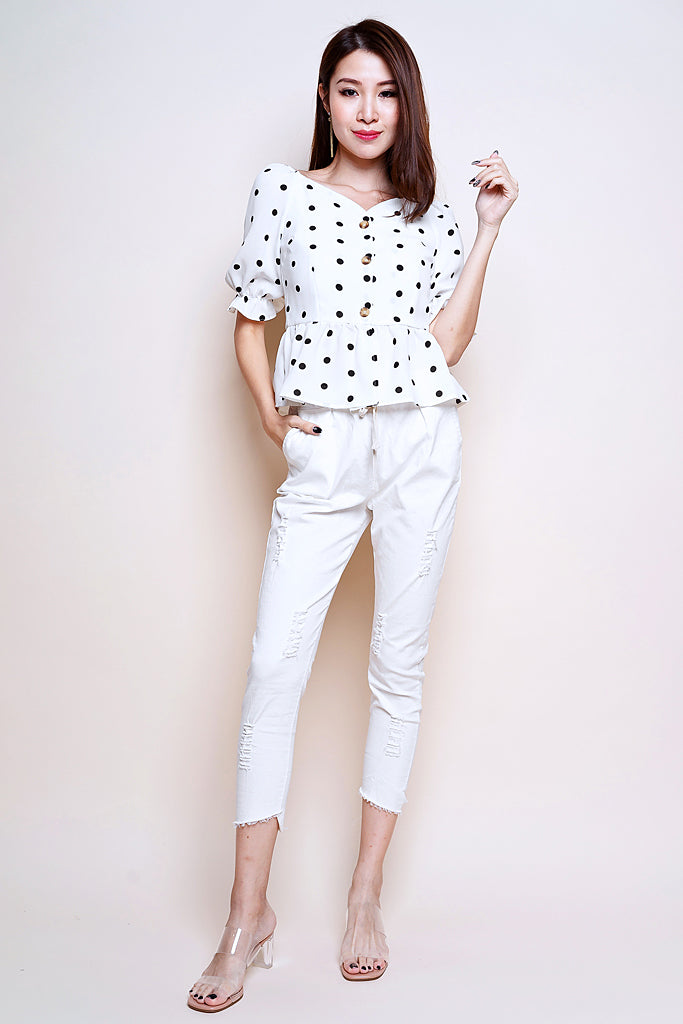 Mich Polka Dot Puffy Sleeved Top - White [S/M/L]