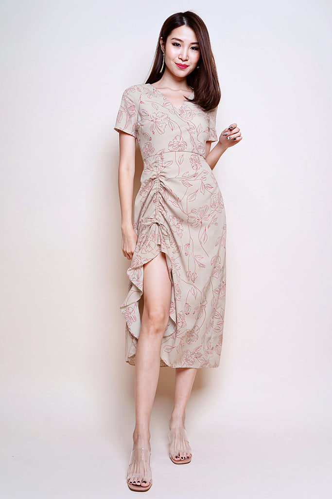 Backorder: Kaili Floral Outline Slit Midi Dress - Nude [S/M/L/XL]