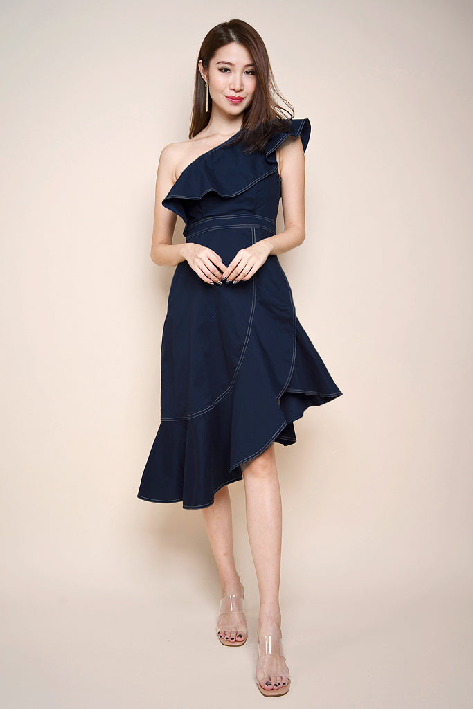 Back Order: Kaia Stitch Outline Asymmetrical Dress - Navy [S/M/L/XL]