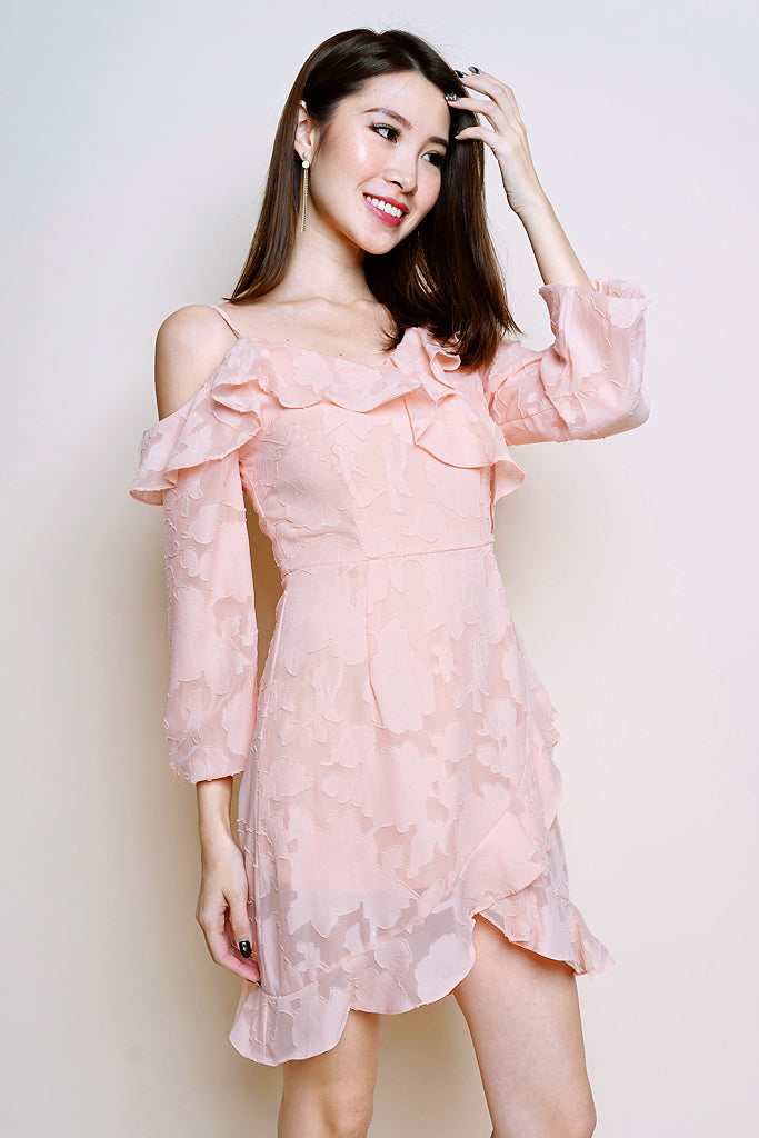 Jo Ruffles Asymmetrical Dress - Peach Pink [S/M/L/XL]