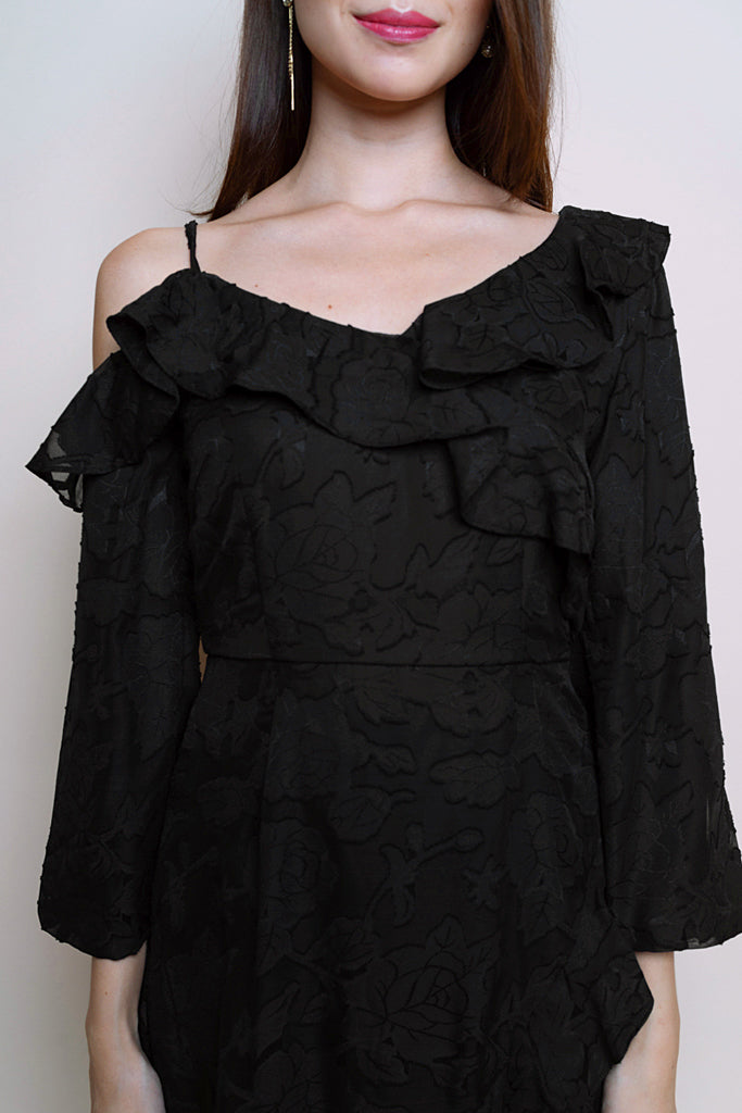 Jo Ruffles Asymmetrical Dress - Black [S/M/L/XL]