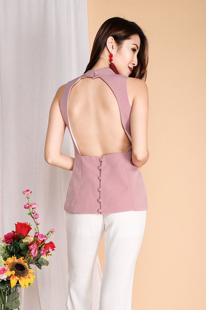 Jodi High Neck Sexy Back Top - Pink ( S / M )