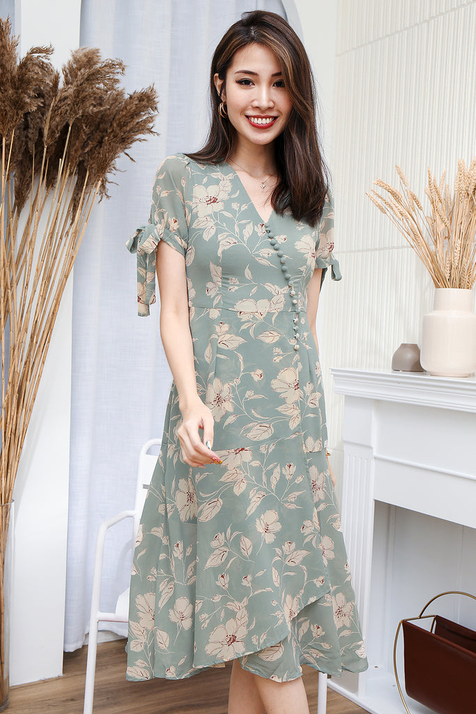 Lyla Floral Button Sleeved Dress - Misty Jade [XS/S/M/L/XL]