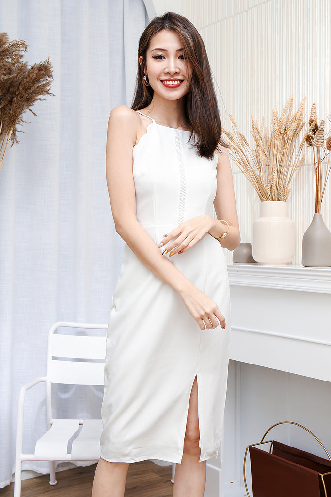 Char Scallop Trim Dress - White [S/M/L/XL]