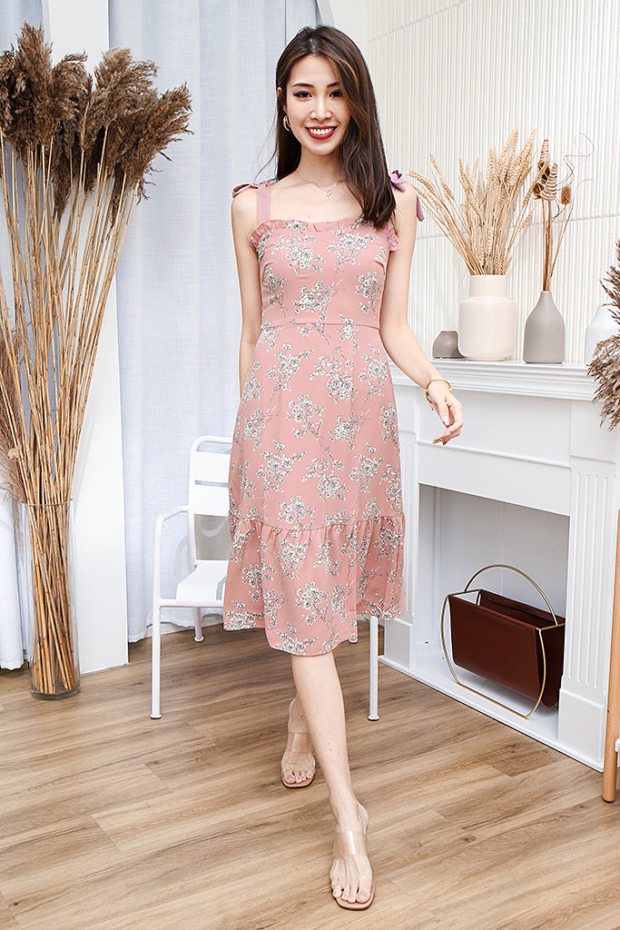 Isla Ribbon Strap Floral Dress - Pink [XS/S/M/L/XL]