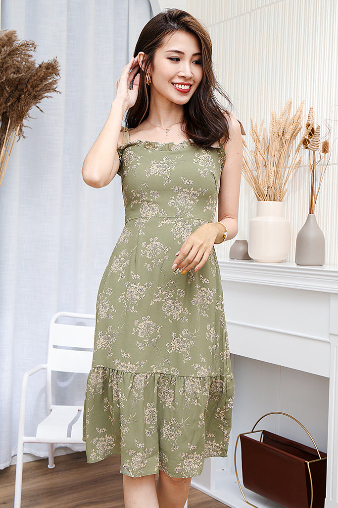 Isla Ribbon Strap Floral Dress - Sage Green [XS/S/M/L/XL]