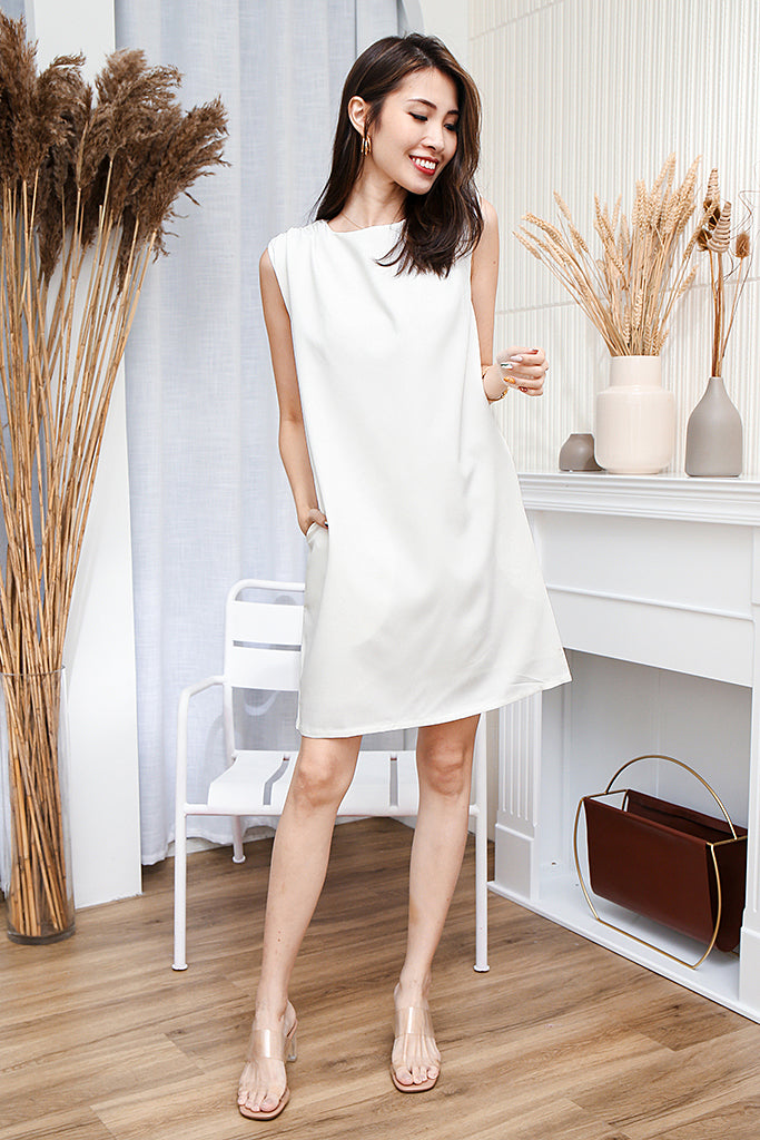 Morgan Shoulder-padded Shift Dress + FREE Fabric Mask- White [S/M/L/XL]
