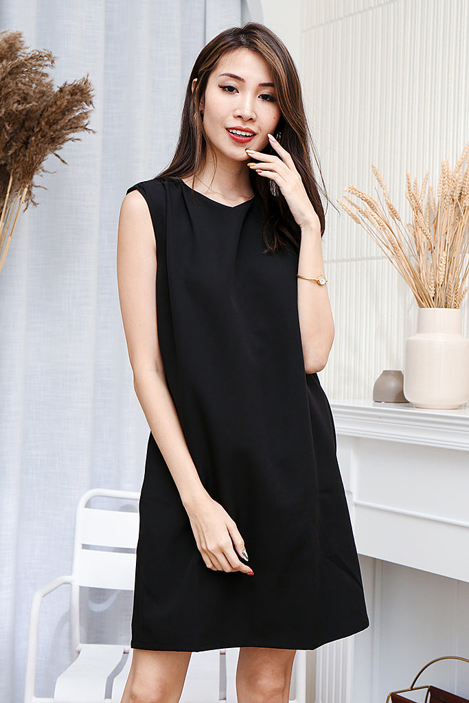 Morgan Shoulder-padded Shift Dress + FREE Fabric Mask- Black [S/M/L/XL]