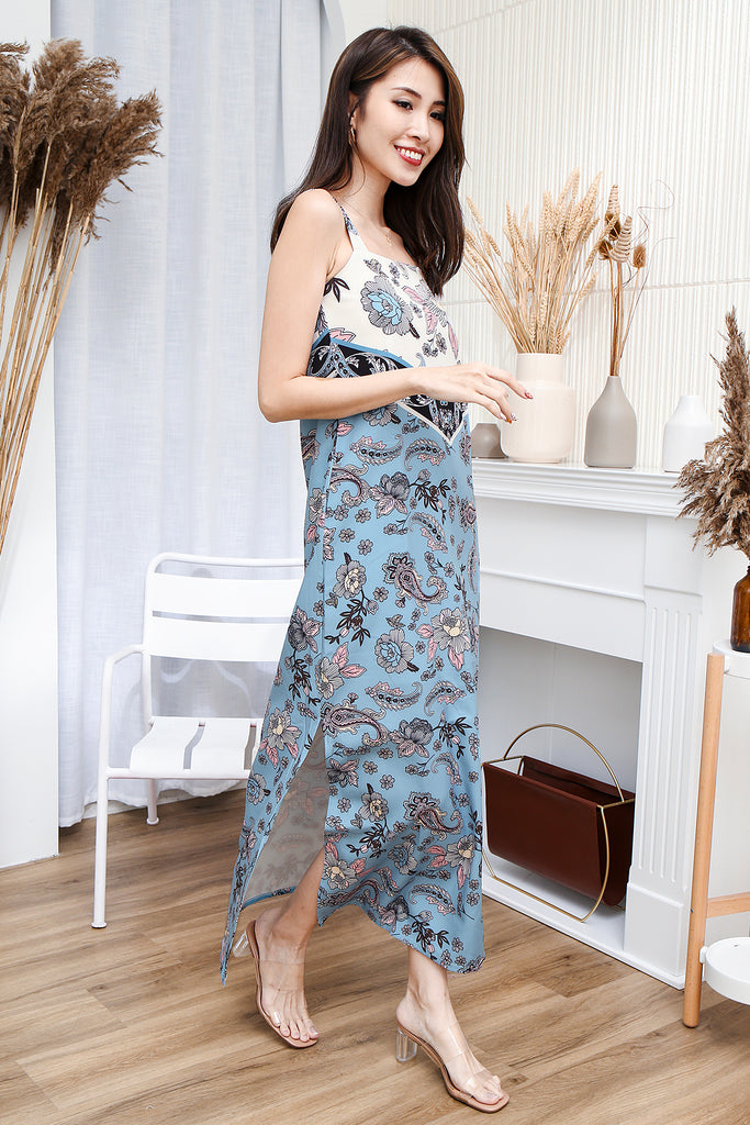 Raegan Paisley Floral Maxi Dress - Blue [XS/S/M/L/XL]