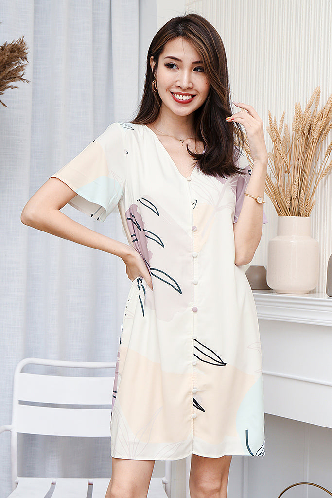 Genesis Abstract Print Sleeve Dress - White [S/M/L/XL]