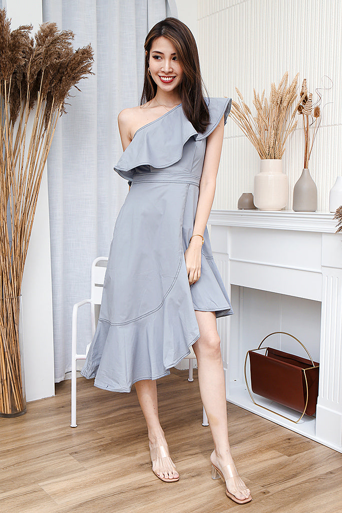 Kaia Stitch Outline Asymmetrical Dress - Dust Blue [S/M/L/XL]