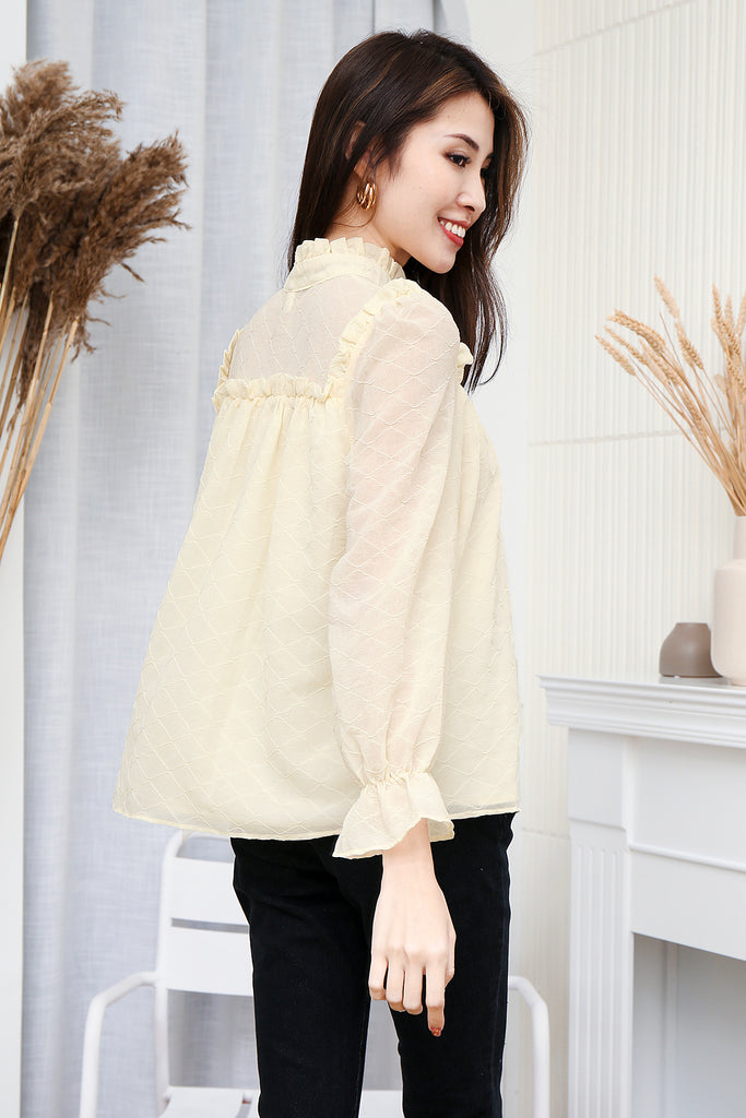 Eliana Poet Long Sleeves Textured Blouse - Beige [S/M]