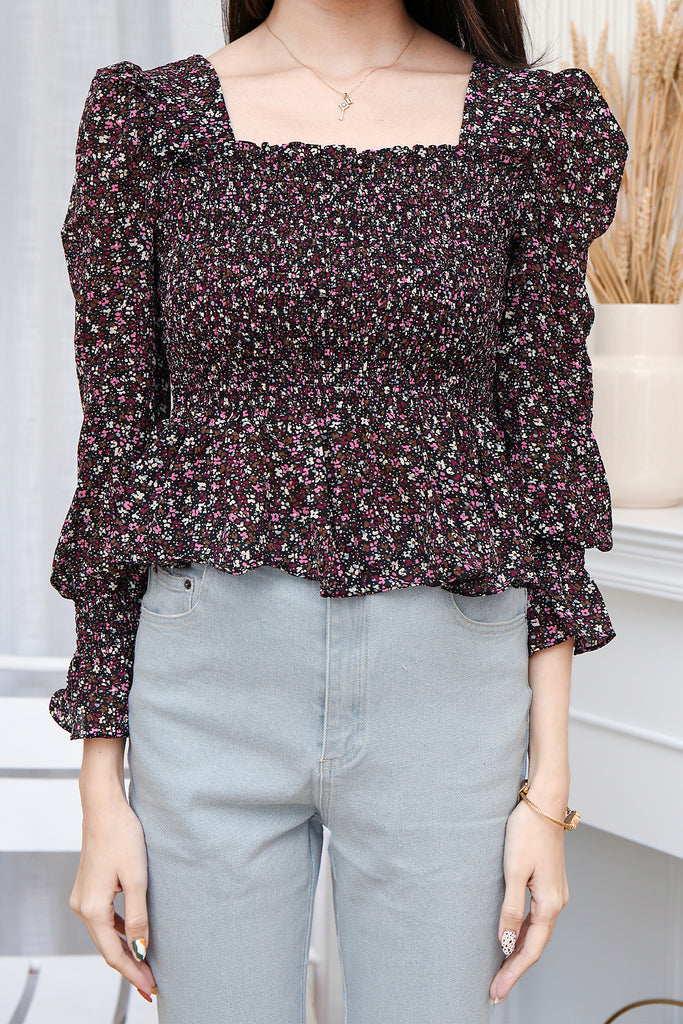 Lilian Smocked Print Top - Black