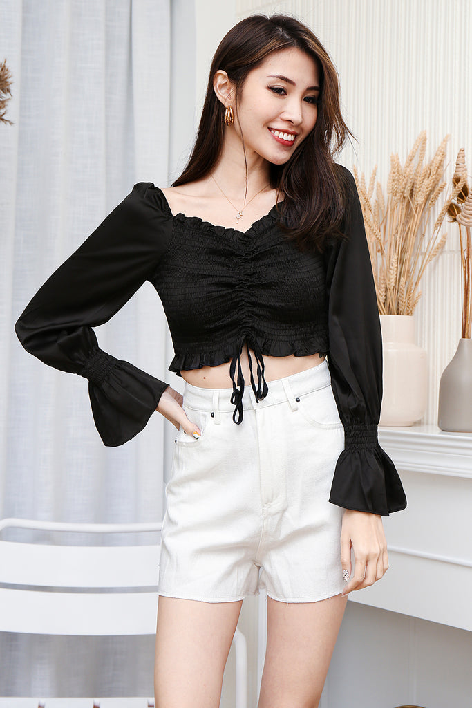 Bailey Basic Smocked Crop Top - Black