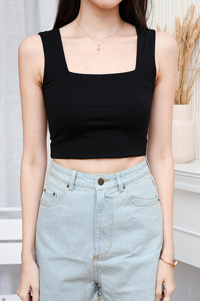 Arabelle Basic Square Neck Crop Top - Black [XS/S/M/L]